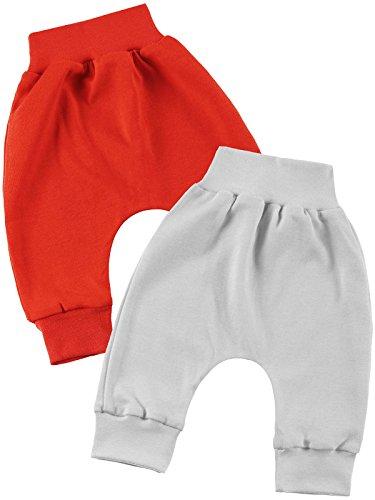 Klekle Baby Jungen Pump Baggy Mitwachs Stoff Hose 2er Set Rot Grau 22781 Größe 68
