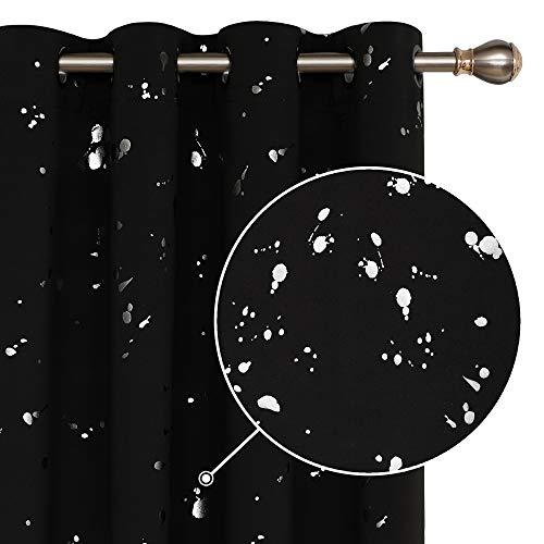 Deconovo Tropfen Motiv Vorhänge Blickdicht mit Ösen Schlafzimmer Thermovorhänge 245x140 cm Schwarz 2er Set, Stoff, 245x140