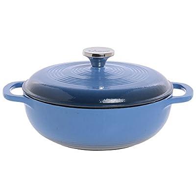 "Lodge 3 qt Caribbean Blue Enameled Cast Iron Dutch Oven - 12 3/4""L x 11 3/4""W x 2 1/8""H"