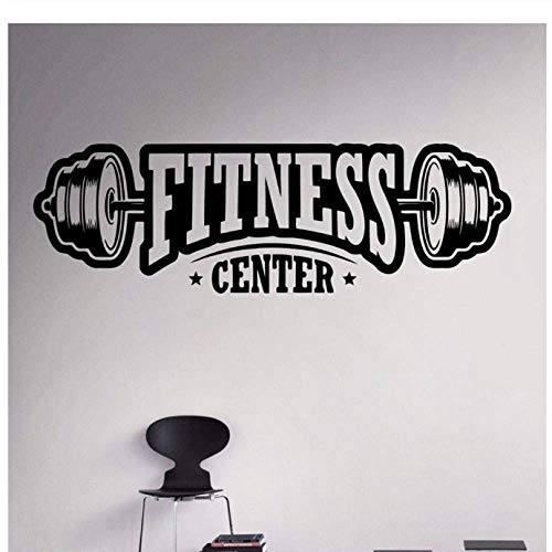 Fitness Center Wall Decal Workout Gym Vinyl Sticker Healthy Lifestyle Home Interior Wall Art Mural Household Goods Design 58X20Cm