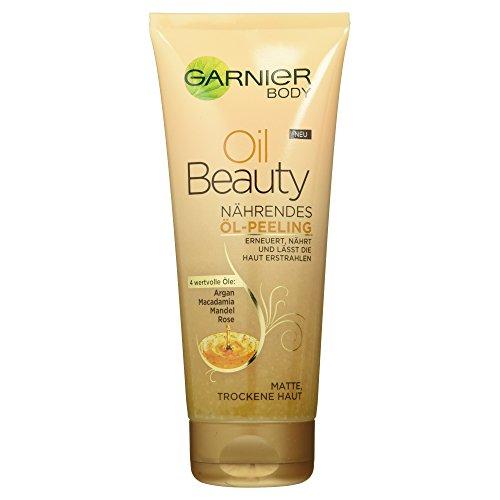 Garnier Oil Beauty Nährendes Öl Peeling / Körperpeeling mit 4 wertvollen Ölen: Argan, Macadamia, Mandel, Rose (für matte trockene Haut), 1er Pack - 200ml