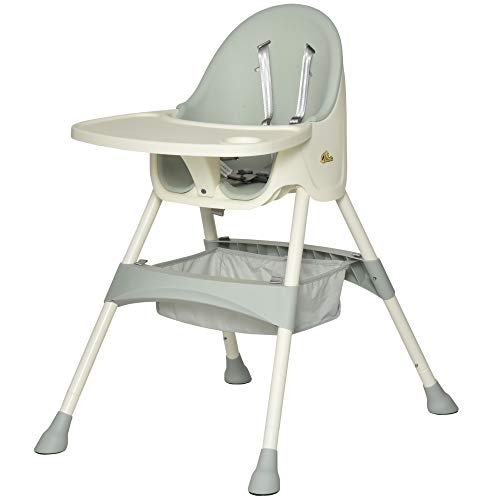Nishore Baby High Chair 3-in-1 Kids Toddler Seat with 5-Point Safety Harness, Removable Food Tray, & Flexible Design - Green