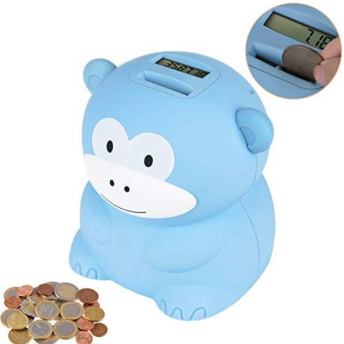 LarmTek Spardose mit Zähler,Süßes Affen-Spardosen für Kinder oder Freunde,Sparschwein Benötigt 2 AA-Batterien (Nicht im Lieferumfang Enthalten)(Blauer AFFE)