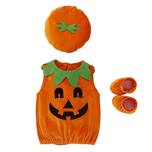 De feuilles Body Barboteuse Citrouille Bébé Halloween Noël Déguisement Costume avec Bonnet Chaussure Ensembles Soirée Party Lot de 3 Lot de 3 0-6 Mois