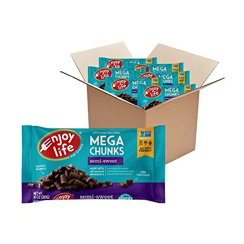 Enjoy Life Baking Chocolate, Soy free, Nut free, Gluten free, Dairy free, Non GMO, Vegan, Paleo, Semi Sweet Mega Chunks, 10 Ounce Bags (Pack of 6)