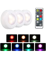 Honelife RGB LED Under Cabinet Lamp Puck Light 6 Pack with Remote Control Brightness Adjustable Dimmable Timing Supported 16 Colors Automatic Changing/Flash/Fade 3 Lighting Modes