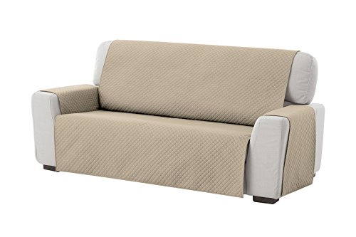 Textilhome - Funda Cubre Sofá Adele, 3 Plazas, Protector para Sofás Acolchado Reversible. Color Beige