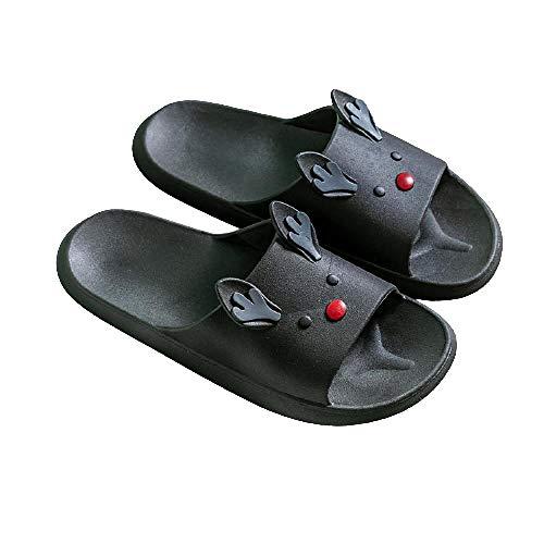 XZDNYDHGX Zapatillas Sandalias Inferiores Suaves,Zapatillas de Dibujos Animados para Mujer, Zapatos de Playa Ligeros para Mujer, Zapatilla de Plataforma Informal con Punta Abierta, Negro EU 36-40