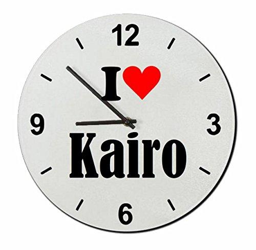 Druckerlebnis24 Exclusivo: Vidrio de Reloj I Love Kairo una Gran Idea para un Regalo para su Pareja, colegas y Muchos más! - Reloj, Regaluhr, Regalo, Amo, Made in Germany.