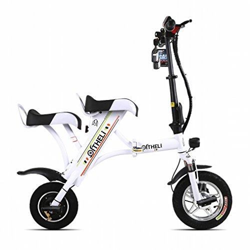 PH Petit Vélo électrique pliant Mini femelle batterie de voiture mâle génération électrique double Adulte Lithium plaque Skating, blanc