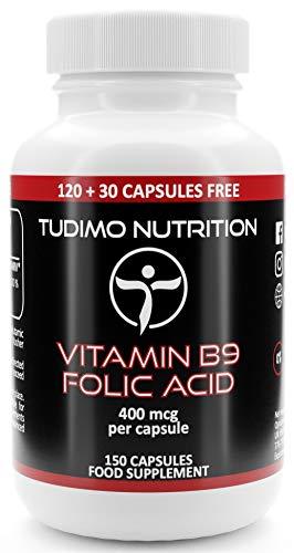 Vitamina B9 Acido Folico 400 mcg - 150 pz (Scorta 5 Mesi) di Capsule a Disgregazione Rapida con 400mcg Acido Folico Polvere Qualità Premium, di TUDIMO