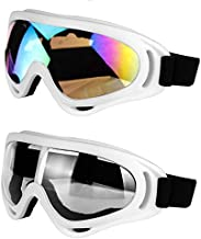 LJDJ Motorcycle Goggles - Glasses Set of 2 - Dirt Bike ATV Motocross Anti-UV Adjustable Riding Offroad Protective Combat Tactical Military Goggles for Men Women Kids Youth Adult