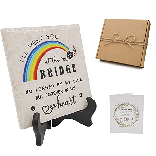 Rainbow Sky Bridge Pet Loss Memorial Tile | No Longer by My Side but Forever in My Heart | 6