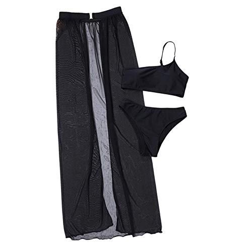 fgsdd Traje de baño de tres piezas para mujer, traje de baño para playa, monocolor Negro L