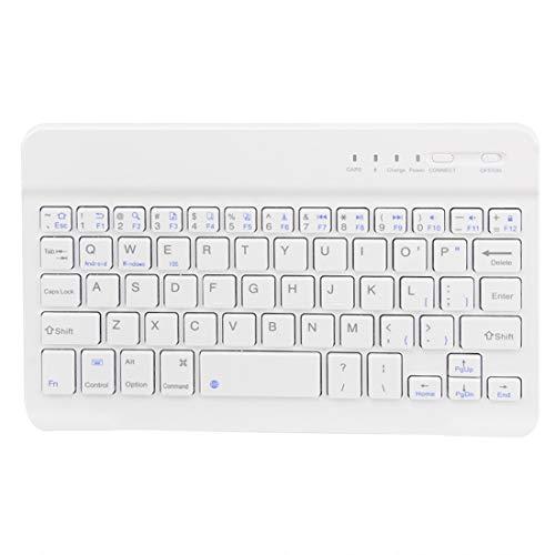 MaNMaNing Teclado Bluetooth Inalámbrico Delgado Compatible con iMac iPad Android Phone Laptop Tablet PC (Blanco)