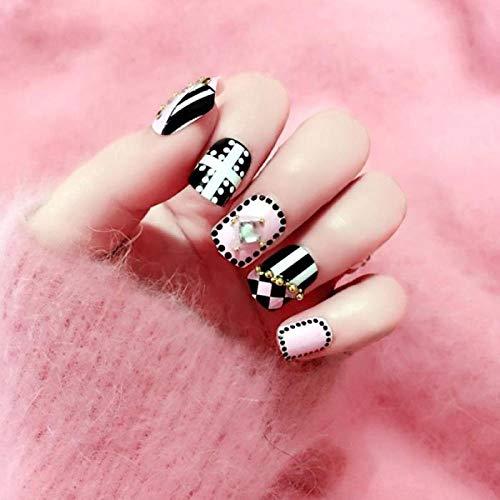 TJJL Faux ongles Noir Blanc Polka Dot Stripe Nail Art Conseils Avec De La Colle Femmes Brillant Strass Diy Faux Ongles Filles Punk Style De Mode Faux Ongles
