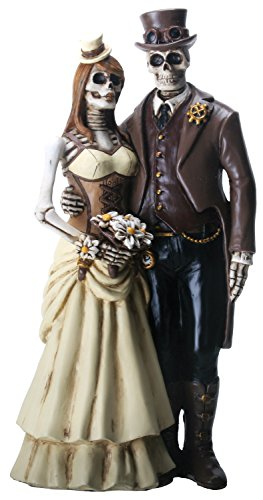 8 Inch Steampunk Skeleton Wedding Couple Statue Figurine, Brown