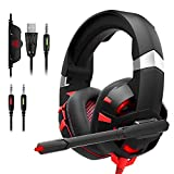 Gaming Headset PC Gaming Headset with 7.1 Surround Sound Stereo, Xbox One Headset with Noise Canceling Mic & LED Light, Compatible with Xbox One, PS3, PS4, PS5, PC, Sega Game Gear (Red)