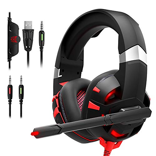 DIOWING Gaming Headset PC Gaming Headset with 7.1 Surround Sound Stereo, Xbox One Headset with Noise Canceling Mic & LED Light, Compatible with Xbox One, PS3, PS4, PS5, PC, Sega Game Gear (Red)