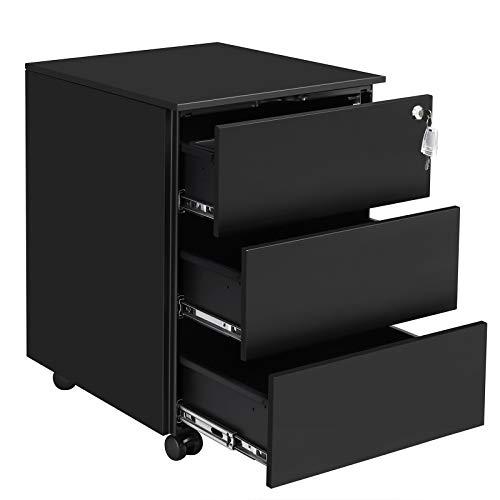 SONGMICS Rollcontainer, mobiler Aktenschrank, abschließbar, mit 3 Schubladen, Aufbewahrung von...
