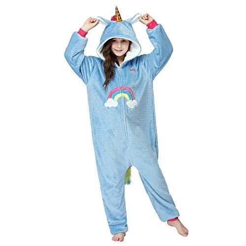 RONGTAI Unicorn Onesie Pajamas Cosplay Costume for Kids(Blue Rainbow Unicorn,11-12Years)