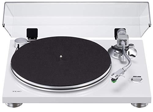 Teac TN-3B Plattenspieler mit Riemenantrieb (MM-Phono-EQ-Verstärker integriert, digitaler USB Ausgang, SAEC Tonarm, 33 & 45 RPM Geschwindigkeit), Weiß