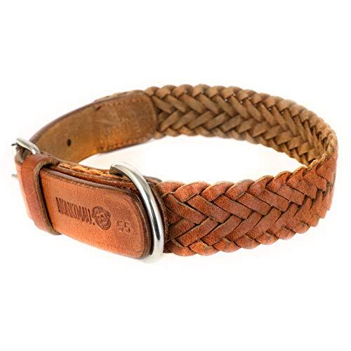 Monkimau Halsband für Hunde aus echt Leder geflochten verstellbar (XL 54-62cm)