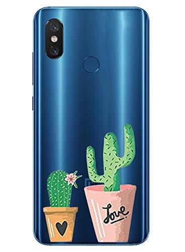 Oihxse Mode Transparent Silicone Case Compatible pour Xiaomi Redmi 7A Coque, Ultra Mince Souple TPU Mignon Animal Série Protection de Housse Anti-Scrach Bumper Etui -Cactus