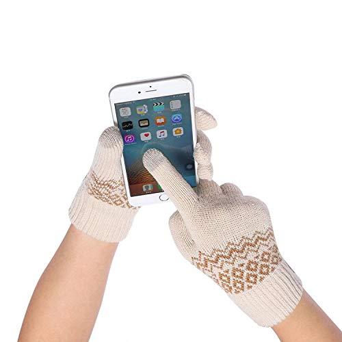 Small-shop Winter Gloves 1 Paar Rhombus-Strickhandschuhe, weich, warm, Handschuhe, Touchscreen-Handschuhe, Wolle gestrickt, Beige