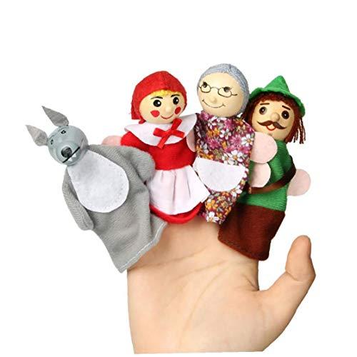 tJexePYK 4pcs Dedo marioneta de Mano de Marionetas de Caperucita Historia Dedo del Juguete de los apoyos educativos Juguetes para los niños de los niños Tiempo de la Historia
