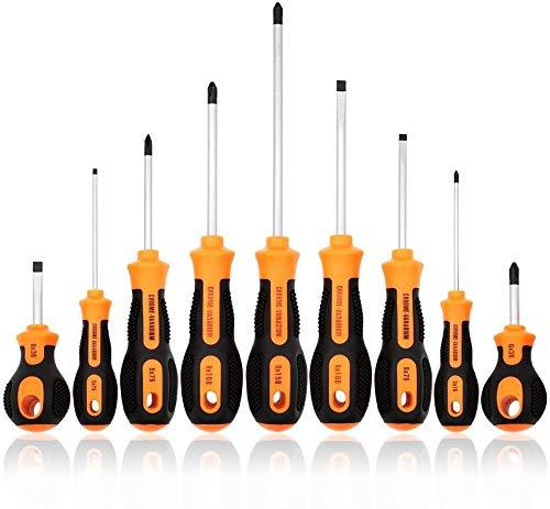 SOONAN Magnetic Screwdriver Set, 9 PCS Professional Cushion Grip 4 Phillips and 4 Flat Head Tips Screwdriver Non-Slip for Repair Home Improvement Craft Repair Tool Kit (Orange) …