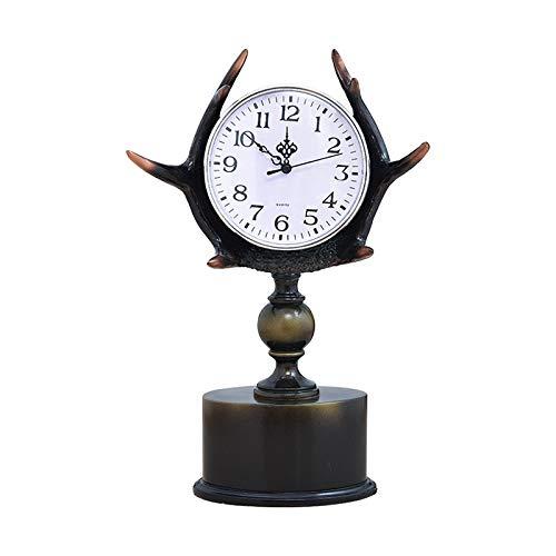 QMZZN Estatua Estatua Escultura Estatua Decoración Reloj De Mesa Sala De Estar Reloj De Escritorio Reloj Artesanía Adornos Reloj De Escritorio Cornamentas Reloj Adornos
