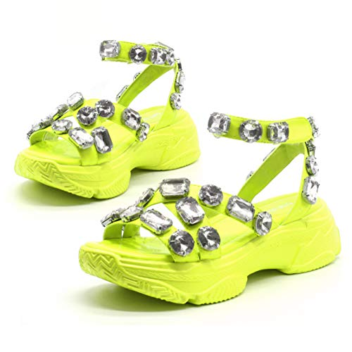Cape Robbin Statement Jeweled Platform Sneaker Sandals Shoes for Women with Chunky Block Heel - Lime Size 10