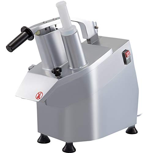VBENLEM 110V Continuous Feed Vegetable Cutter 2 Feeding Holes, Commercial Food Processor 550W 1600 RPM Stainless Steel Construction, Detachable 6-blades Included, 3mm/4mm/7mm Shred, 2mm/4mm Slice