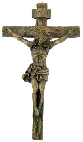 Antique Bronze Hanging Wall INRI Christ Cross Crucifix Home Office Statue Figure