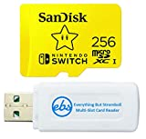 SanDisk 256GB Nintendo Switch MicroSD Card/Memory Card for Nintendo Switch Lite 256 GB (SDSQXAO-256G-GNCZN) Bundle with 1 SD & MicroSDXC Card Reader