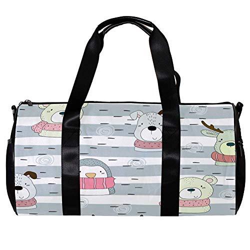 TIZORAX Seesack für Damen Herren Schal Pebguin Hund und Bär Sport Gym Tote Bag Wochenende Übernachtung Reisetasche Outdoor Gepäck Handtasche