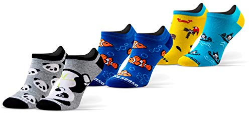 Sesto Senso Lustige Sneaker Socken Baumwolle Bunte Füßlinge Damen Herren 1-3 Paar Funny Socks Panda Fisch Piraten verrückte 35-38 3 Fetzig