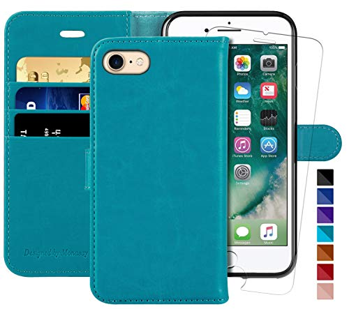 MONASAY iPhone 7 Wallet Case/iPhone 8 Wallet Case,4.7-inch, [Glass Screen Protector Included] Flip Folio Leather Cell Phone Cover with Credit Card Holder for Apple iPhone 7/8 (Light Blue)