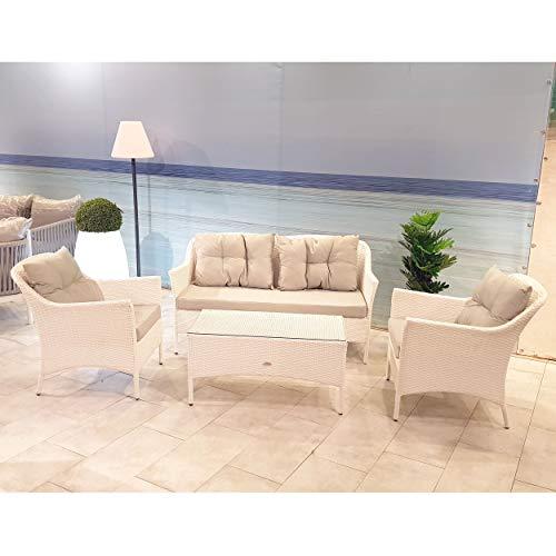 Scaramuzza Modo Set Salotto 4 Posti Divano 147x75 cm, 2 Poltrone, Tavolino Polyrattan, Colore Bianco Modello Cambridge