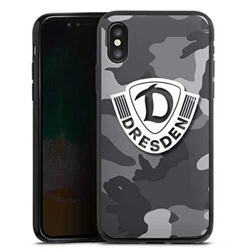 Silikon Hülle kompatibel mit Apple iPhone XS Case schwarz Handyhülle SG Dynamo Dresden Camouflage Wappen