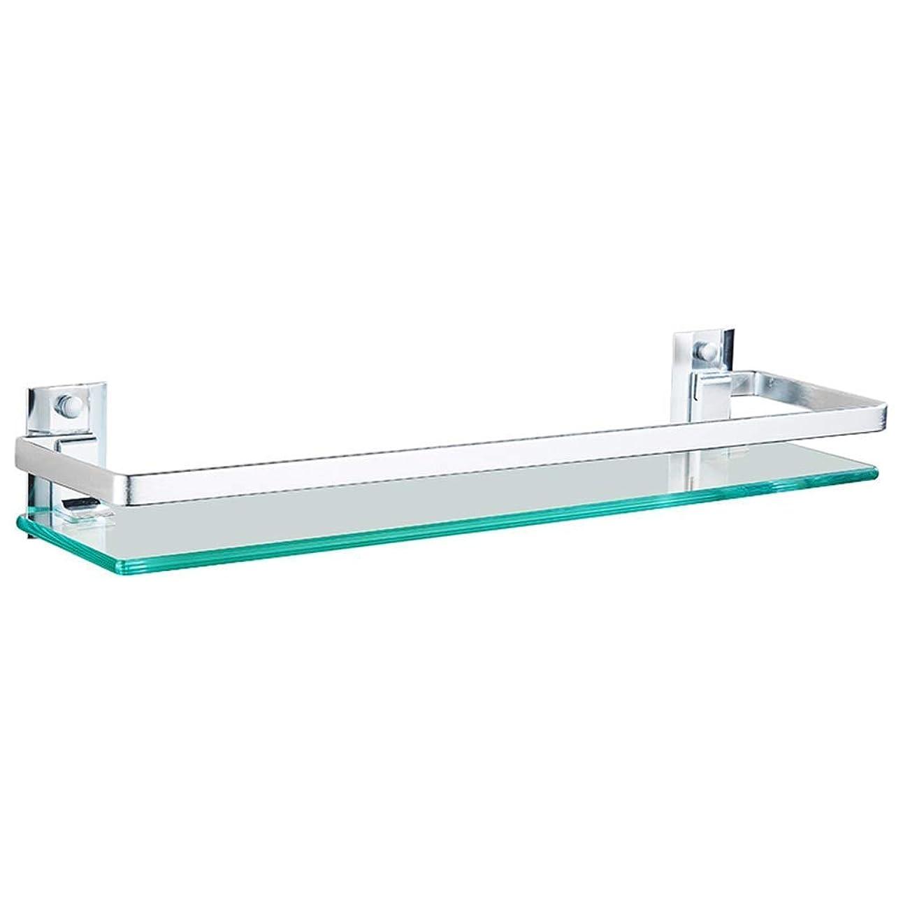 難破船対望むバスルームの棚シャワーオーガナイザー壁に取り付けられたパンチ無料強化ガラススペースアルミニウムタワーハンガートイレ1/2層、3サイズ