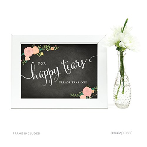 Andaz Press Wedding Framed Party Signs, Chalkboard Floral, 5x7-inch, For Happy Tears Tissue Kleenex Ceremony Sign, 1-Pack, Includes Frame