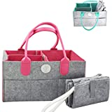 Diaper Caddy Organizer with Changing Pad (Pink)