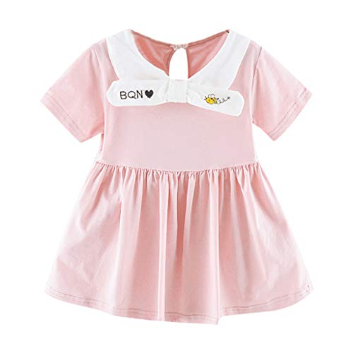 HUIHUI Girls Dress, Manches Courtes Cartoon Bee Bee Bow Revers Revers Tutu Jupe Princesse Jupe T-Shirt Casual Printemps Eté