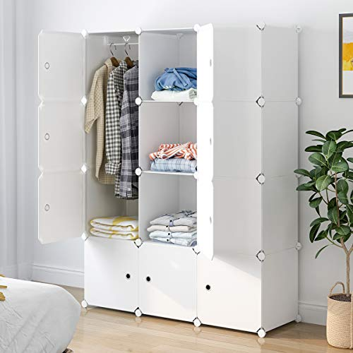 "Aeitc Portable Wardrobe Closets 14""x18"" Depth Cube Storage, Bedroom Armoire, Storage Organizer with Doors, 12 Cubes, White"