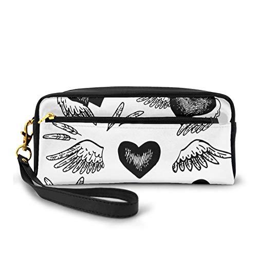 Kleine Make-up-Taschen, Geldbörse, romantische Herzen mit Flügeln, Valentinstag-Thema, Skizzen-Stil, Liebesbild, PU-Leder, Reißverschluss, Reise-Kosmetiktasche und Bleistift-Organizer
