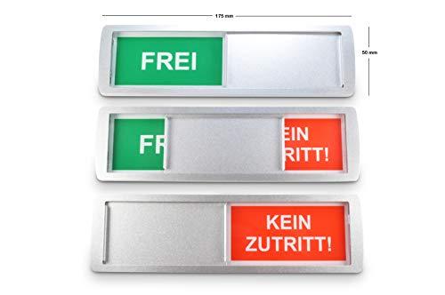 1 letrero deslizante grande vacante/ocupado 'FREI/KEIN ZUTRITT' - 17,5 x 5 cm - Letrero con función deslizante para indicar el estado de una habitación - Adhesivo trasero d de la reconocida marca 3M