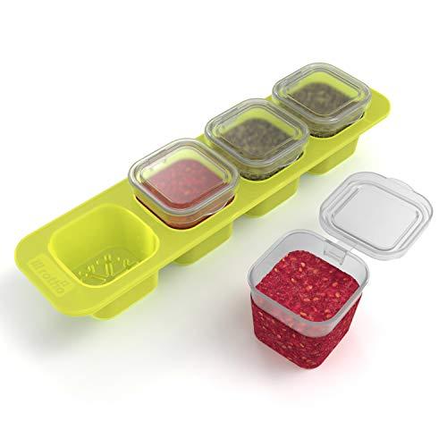 Rotho Domino 4er-Set Mini Gefrierdosen 0.05l mit Deckel, Kunststoff (PP) BPA-frei, grün/transparent, 4 x 0,05l (23,0 x 6,5 x 4,6 cm)