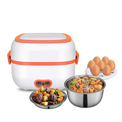 Electric Lunch Box 3 In 1 Food HeaterCookerSteamer with Stainless Steel Bowls Egg Steaming Tray Spoon Measuring Cup for Office School Home Travel